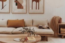 26 an analogous color scheme with neutrals, mustard and tan for a mid-century modern living room