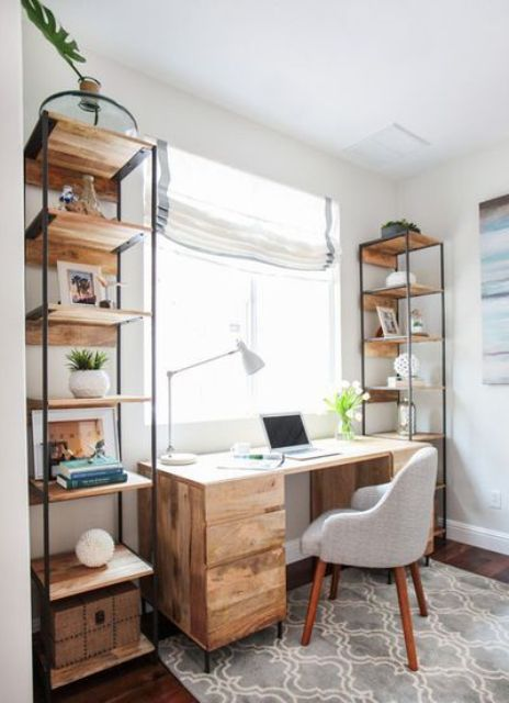 two free-standing shelving units of metal and wood on both sides of the desk are a trendy idea