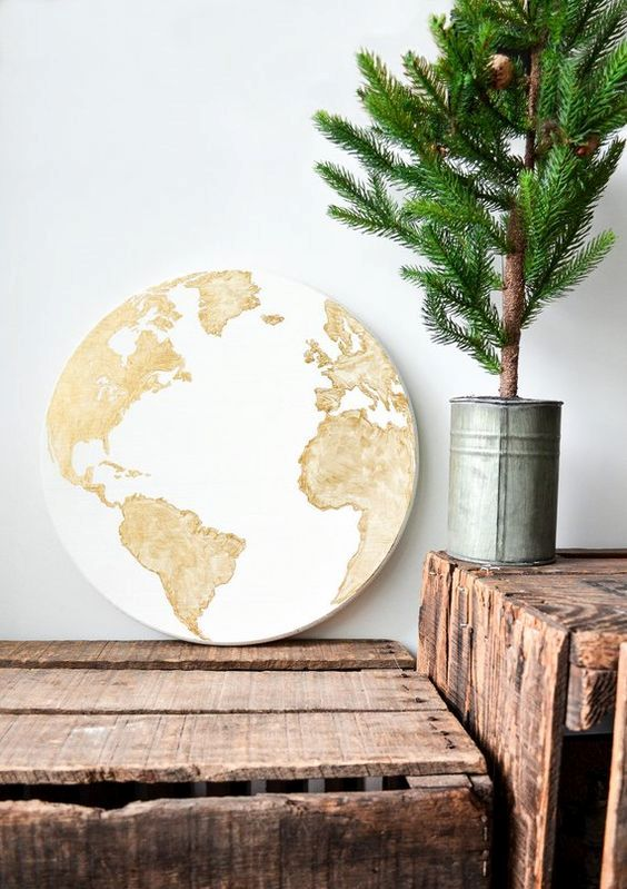 world map globe sign can be used to decorate any space in any style - it always matches
