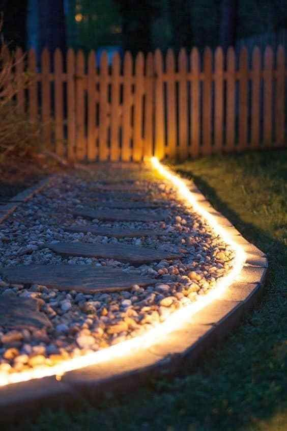 add lights to your garden pathways to enlighten the garden and make it more comfortable to walk at night
