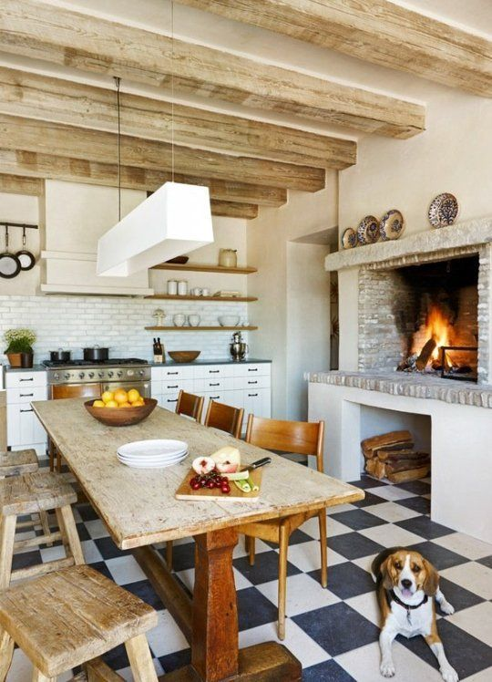 try a fireplace in the kitchen, and you'll be able to use it for cooking
