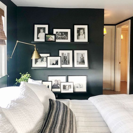 add a gallery wall of family photos using inexpensive photo ledges to cozy up the space