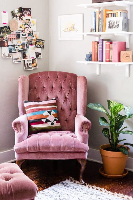 heirloom chairs like this pink one can be a nice idea to make your space personalized