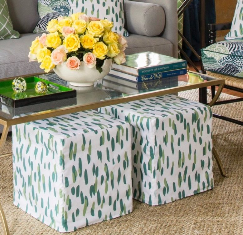 IKEA Bosnas ottomans renovated with bright printed slipcovers will add a colorful touch to your space