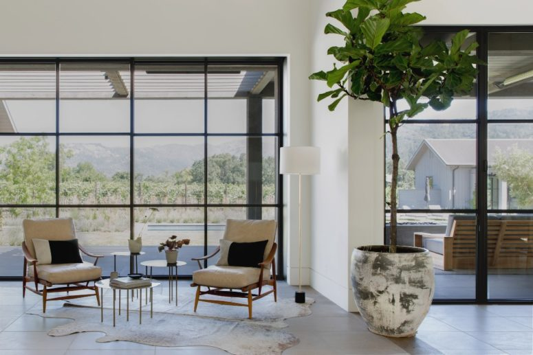 Many walls are glazed to get the best of the views and fill the interiors with natural light as much as possible