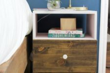 03 a boho IKEA Tarva nighstand hack with stain, blush paint and a white knob looks very unusual