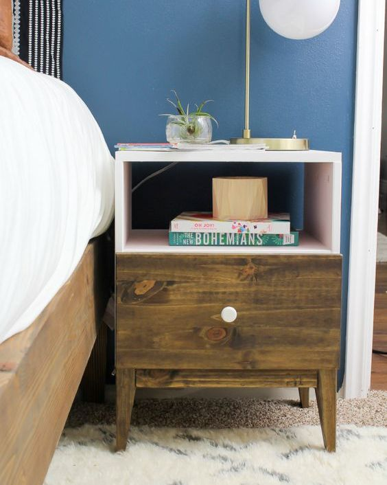a boho IKEA Tarva nighstand hack with stain, blush paint and a white knob looks very unusual