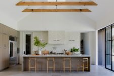 super large kitchen island with dining area