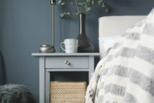 04 an IKEA Hemnes bedside table hack in elegant grey and with a single metallic knob is a stylish idea