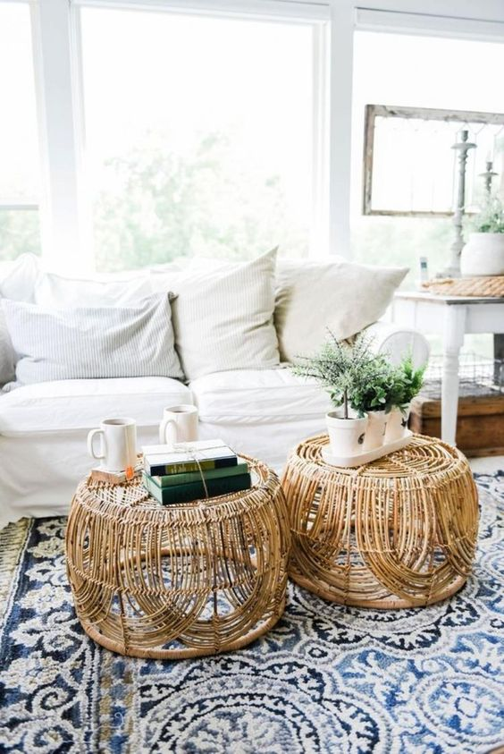 rattan coffee tables like these ones will bring a boho and outdoorsy feel to your space