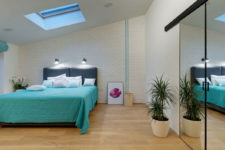 05 The master bedroom features a skylight, potted plants, a built-in storage unit with a mirror