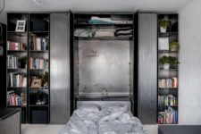 a practical storage unit with a Murphy bed inside