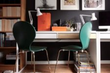 05 a shared study space with a hacked Micke desk with two sleek drawers in various colors and emerald chairs
