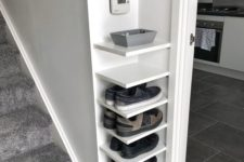06 comfortable corner shelves for storing shoes in a tiny entryway are perfect and can be DIYed fast