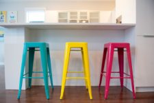 06 modern colorful stools in multiple shades add brightness and a fun touch to the kitchen instantly