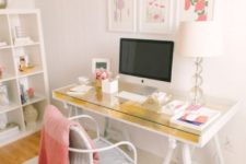 08 an IKEA Gruvan desk hack with gold leaf is a chic and glam idea, perfect for a girlish space