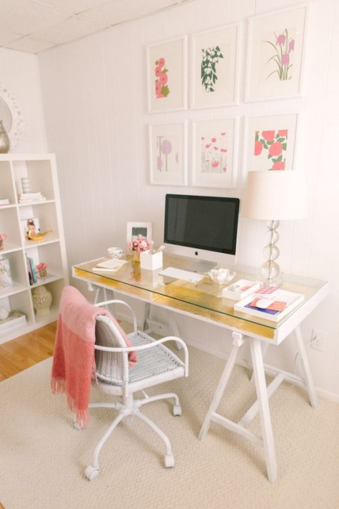an IKEA Gruvan desk hack with gold leaf is a chic and glam idea, perfect for a girlish space