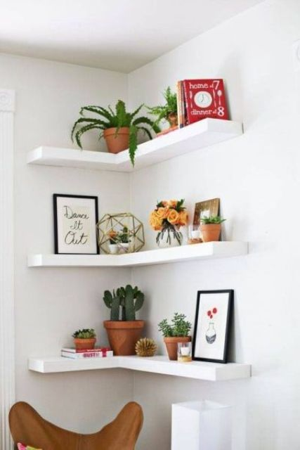 creative IKEA LACK corner shelves like these ones give you maximum of your corners in any room
