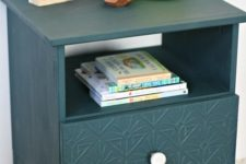 09 an IKEA Tarva nightstand is hacked with faux inlays, a white knob and in forest green color