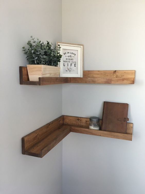 simple stained corner shelves that are ledges at the same time will keep your things in place