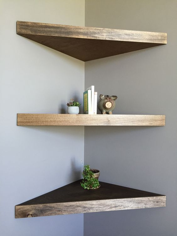 stylish thick triangle-shaped wooden shelves with a shiny edge look very chic and stylish