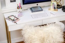 11 an IKEA Besta Burs desk hacked with gold spray paint is a very easy craft to try