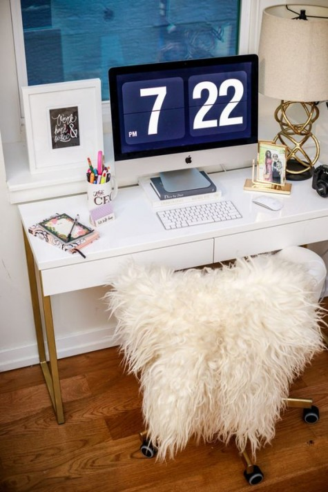 an IKEA Besta Burs desk hacked with gold spray paint is a very easy craft to try