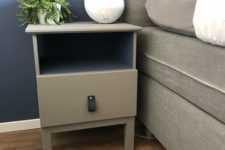 11 an IKEA Tarva nighstand painted grey and with a blakc leather pull is a simple makeover with plenty of style