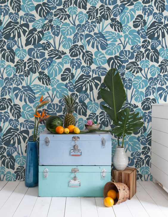 tropical lead wallpaper done in navy and light blue is a very non-traditional and bold combo