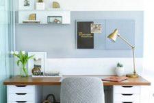 a desk made of IKEA Alex shelves