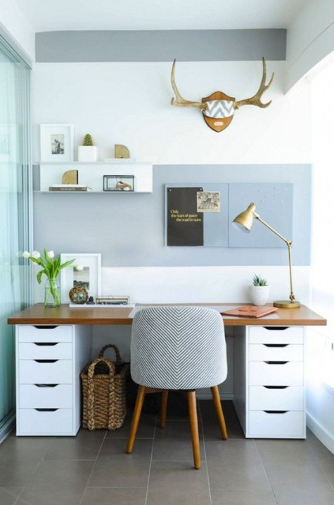 a comfortable desk with IKEA Alex shelves and a wooden tabletop has much storage space