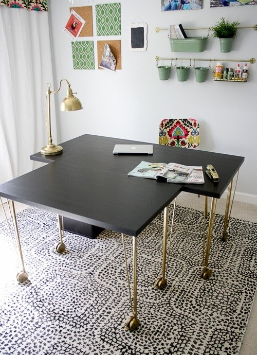 a desk of an IKEA Linnmon tabletop, Krille legs and an Alex drawer unit is a large unit ideal for work