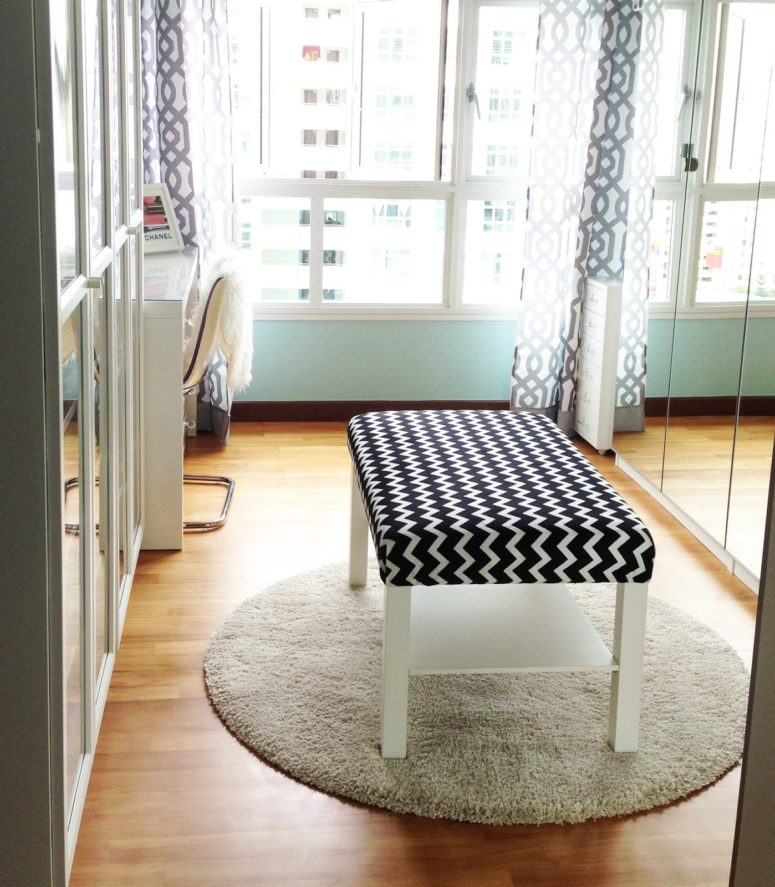 a stylish chevron print black and white ottoman made of an IKEA Lack table and some fabric
