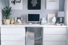 16 a minimalist desk in white with IKEA Malm dressers and a matching tabletop is complemented with an acrylic chair