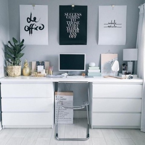 a minimalist desk in white with IKEA Malm dressers and a matching tabletop is complemented with an acrylic chair