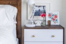 16 a stylish IKEA Rast hack – rich stained wood covering it and chic knobs for a bold nightstand