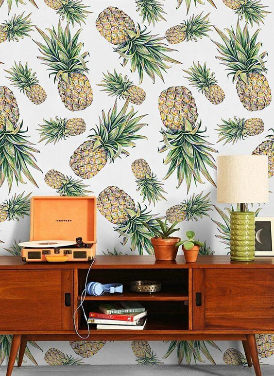 fun pineapple print wallpaper is ideal to add a whimsy touch and make your space stand out a bit