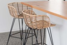 16 stylish modern rattan stools with metal framing and legs will give an outdoorsy feel to the space