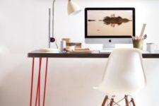 17 a modern lightweight looking desk made of an IKEA Sanfrid tabletop and bright red hairpin legs