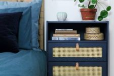 17 a stylish IKEA Rast hack with cane inserts, leather pulls and a single open compartent is a very practical piece