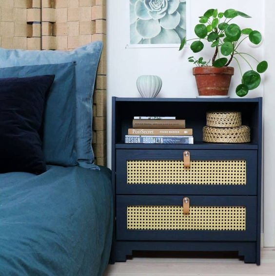 a stylish IKEA Rast hack with cane inserts, leather pulls and a single open compartent is a very practical piece