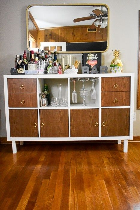 create your own budget friendly customized home bar cabinet or sideboard with this IKEA Kallax hack