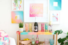 18 turn a usual IKEA Satsumas plant stand into a bright gradient home bar in bold summer colors