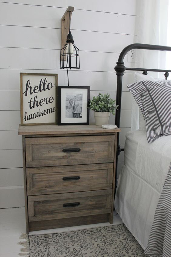 an IKEA Rast dresser hacked with stain and black handles will easily fit a rustic or farmhouse bedroom