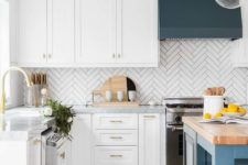 21 a gorgeous modern kitchen with teal and blue accents, butchblock tabletop and a white skinny tile backsplash in a chevron pattern