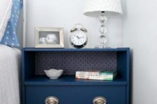 21 an IKEA Rast dresser painted navy, with contact paper inside and chic metallic knobs
