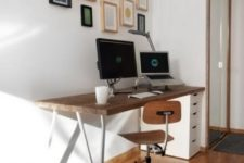 22 a stylish desk made of an IKEA Alex drawer unit, LERBERG Trestle, a Numerar countertop features storage yet doesn't look heavy