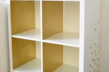 22 an IKEA Kallax shelf on casters, with gold polka dot decals and a matching jar becomes a gorgeous bar cart