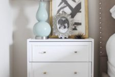 22 an IKEA Rast dresser redone with inlays and metallic knobs for a glam feel in your bedroom