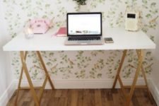 23 a chic desk made using a Linnmon countertop and Lerberg trestle by IKEA is a cool idea with a glam touch